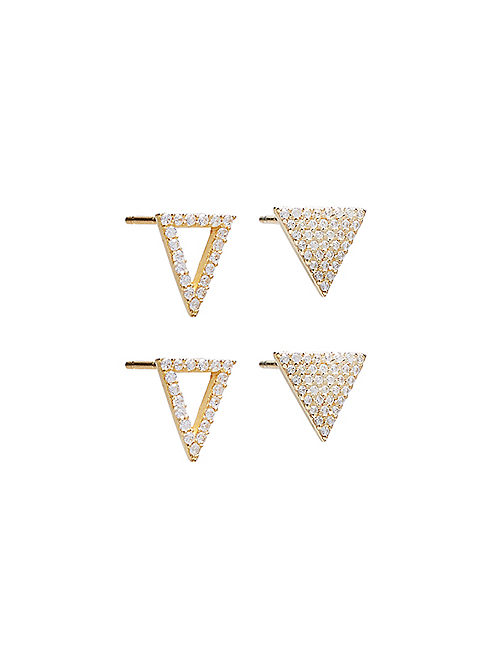 PAVE TRIANGLE STUD SET,