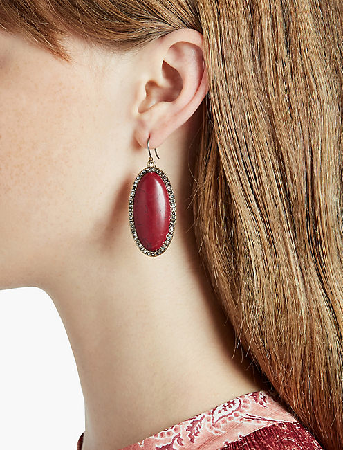 RED JADE STONE EARRING,