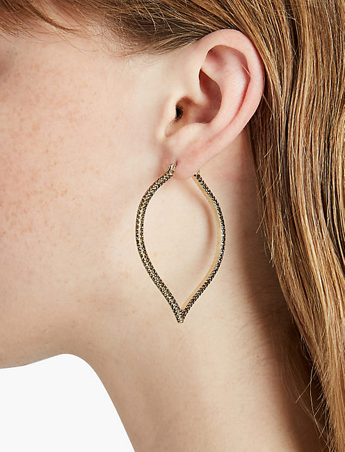LUCKY SPADE PAVE HOOP EARRING
