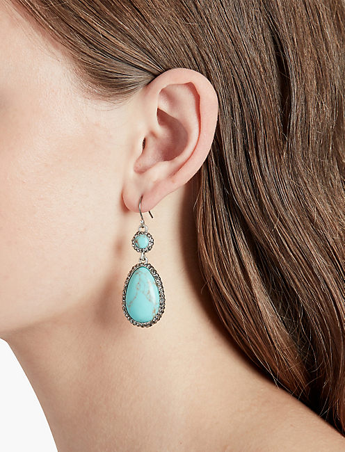 LUCKY TURQ PAVE DROP EARRING