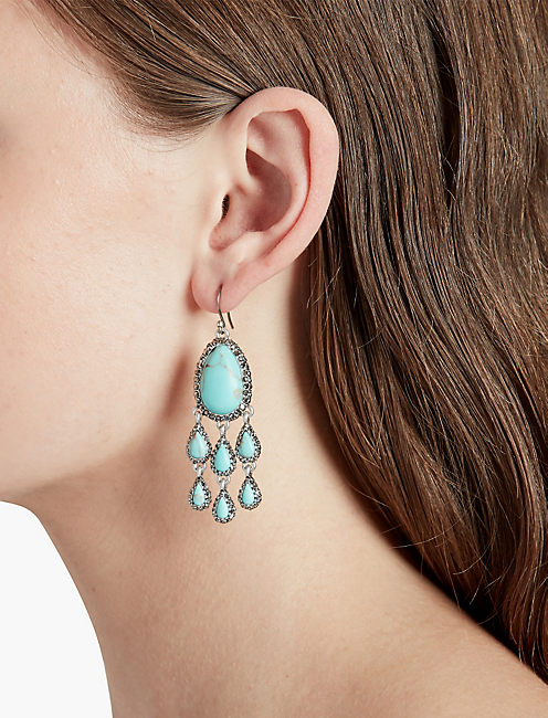 LUCKY TURQ PAVE CHANDELIER EARRING