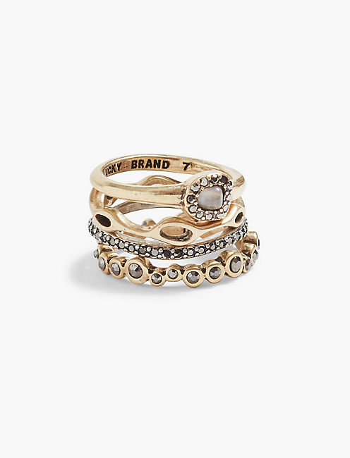 PEBBLE STACKABLE RING, TWO TONE