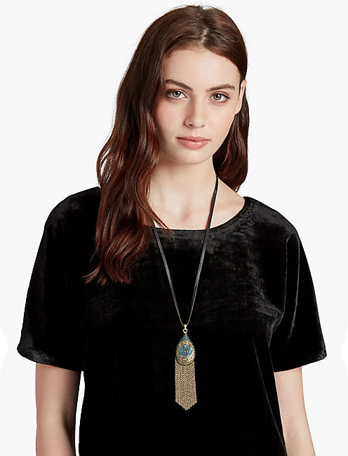 PEACOCK PAVE LEATHER NECKLACE,