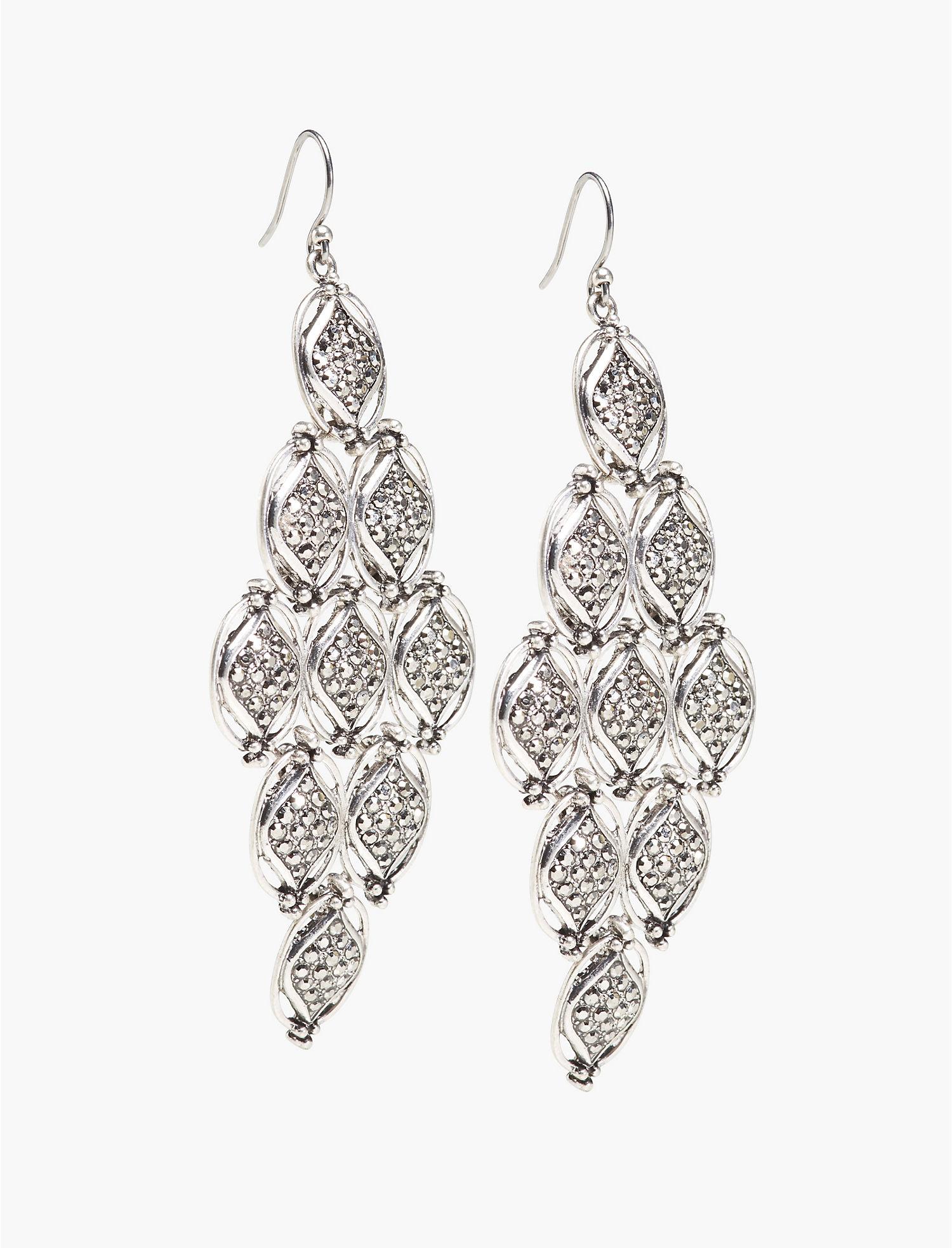 Marcasite Chandelier Earring Silver