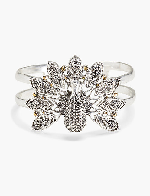 PEACOCK STATEMENT CUFF, SILVER