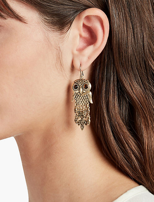 GOLD OWL EARRINGS,