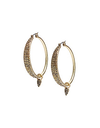 LUCKY PAVE DANGLE HOOPS