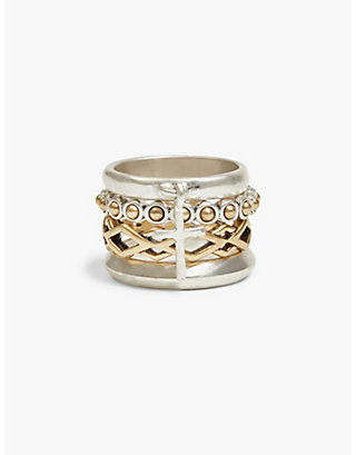 LUCKY CROSS STACKED RINGS