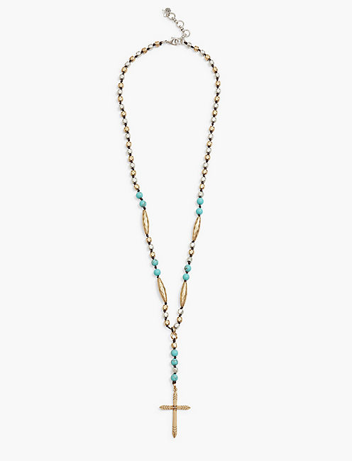 CROSS TWO TONE NECKLACE,