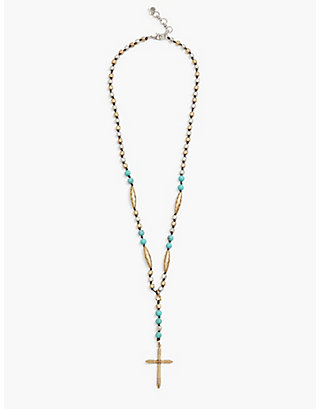 LUCKY CROSS TWO TONE NECKLACE