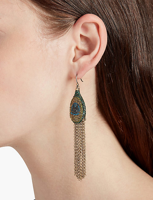 LUCKY PEACOCK PAVE FRINGE EARRING