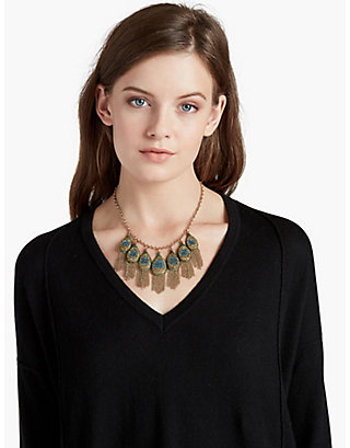 LUCKY PEACOCK PAVE STATEMENT COLLAR