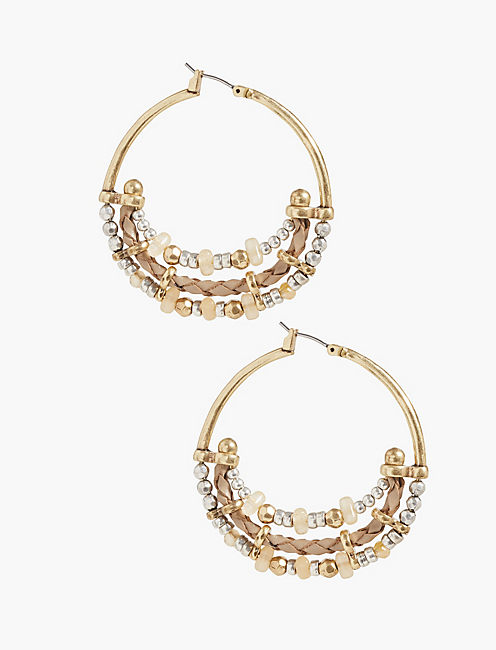BEADED METAL HOOPS,