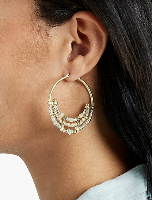 LUCKY BEADED METAL HOOPS