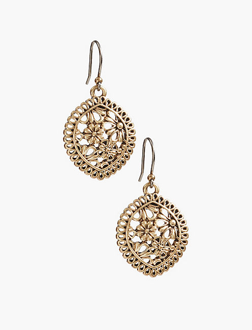 GOLD OPENWORK LACE DROP EARRING,