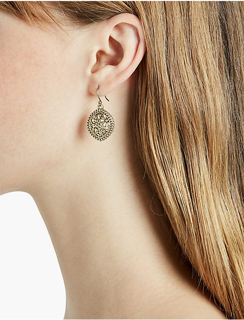 LUCKY GOLD OPENWORK LACE DROP EARRING