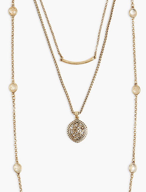 LUCKY LAYER GOLD LACE NECKLACE,