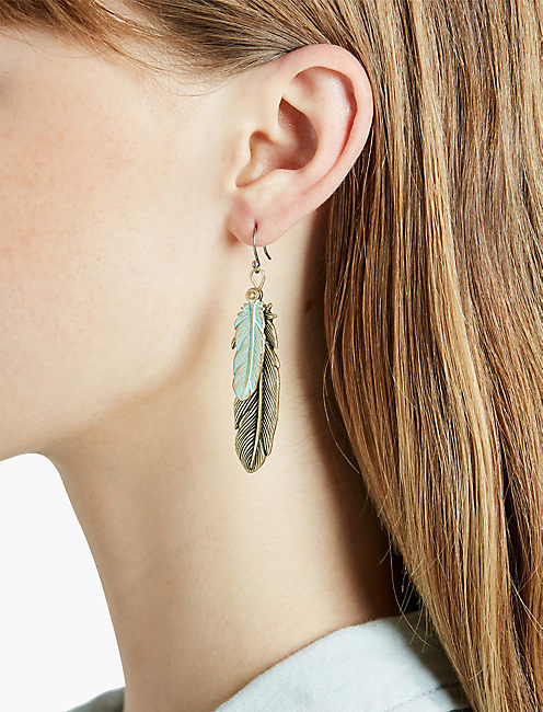 LUCKY PATINA FEATHER EARRING
