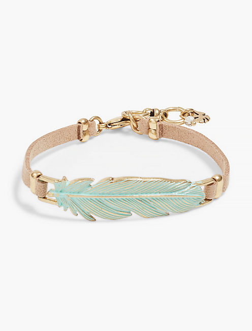 PATINA FEATHER LEATHER BRACELET, GOLD