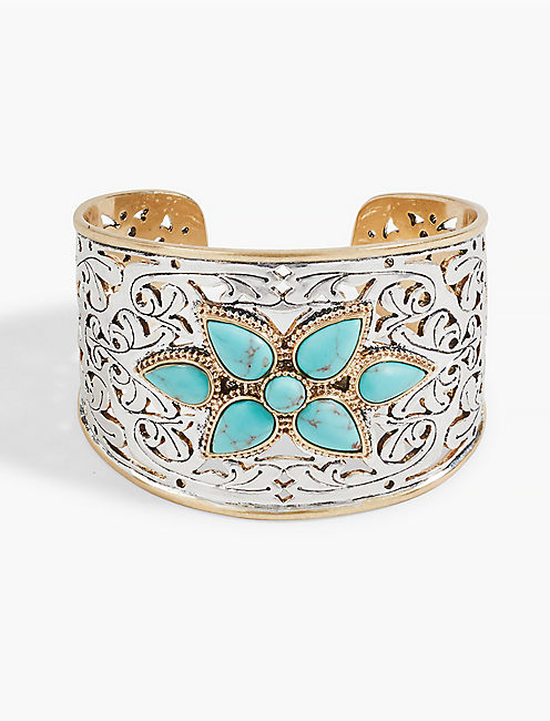 ETCHED TURQUOISE STATEMENT CUFF,