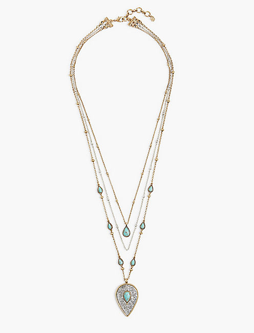 ETCHED TURQUOISE LAYER NECKLACE,