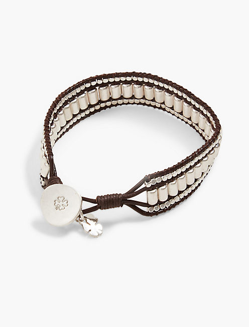 SILVER BEADED LEATHER BRACELET,