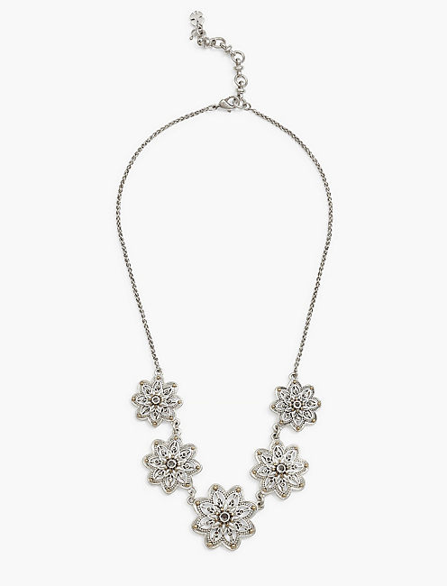 SILVER FLOWER COLLAR NECKLACE,