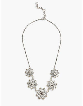 LUCKY SILVER FLOWER COLLAR NECKLACE