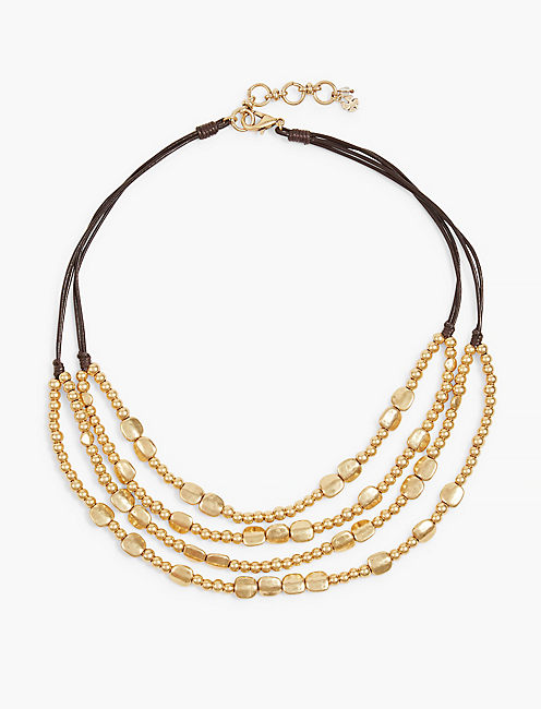 GOLD BEADED COLLAR NECKLACE,