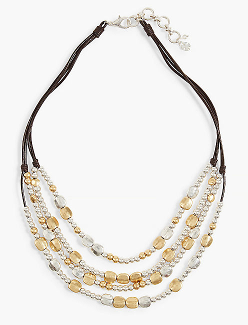 TWO TONE BEADED COLLAR NECKLACE,