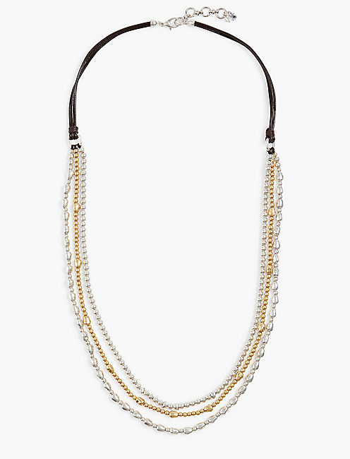 TRIPLE STRAND LEATHER NECKLACE,