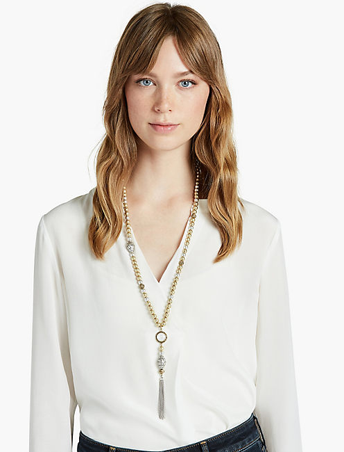 LUCKY TWO TONE TASSEL NECK