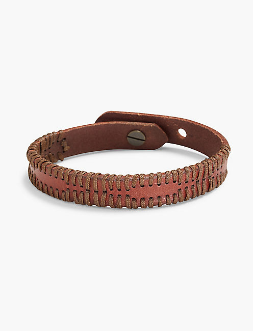 LEATHER BRACELET WITH WAX CORDING,