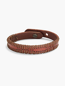 LEATHER BRACELET WITH WAX CORDING