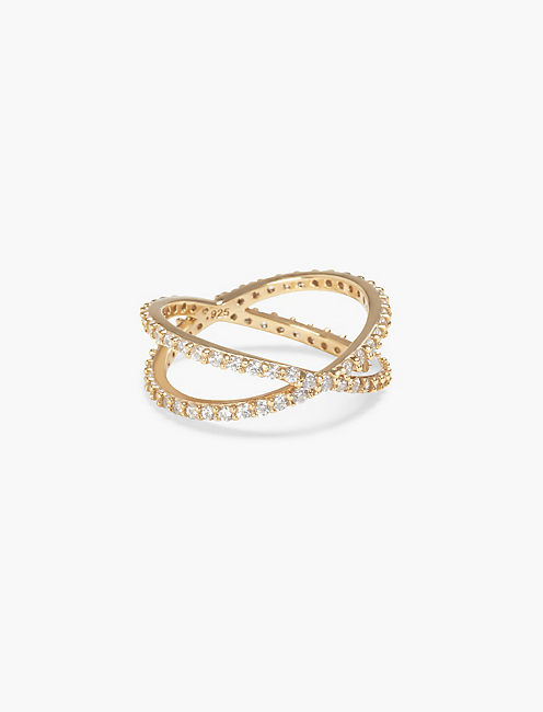 PAVE CRISS CROSS RING,