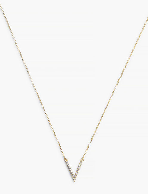 "PAVE ""V"" NECKLACE,"