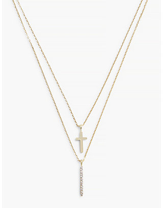 LUCKY CROSS DOUBLE LAYER NECKLACE
