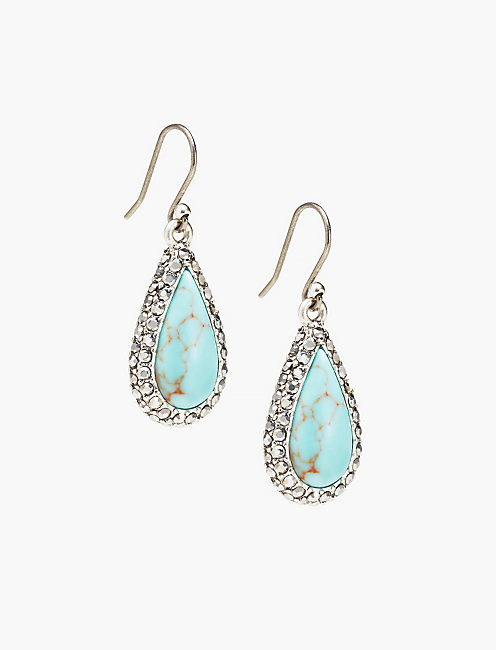 TEARDROP TURQUOISE PAVE EARRINGS,