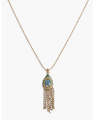 LUCKY CARDED PEACOCK PAVE PENDANT NECKLACE