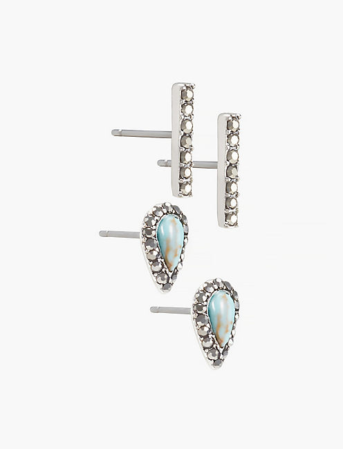 TURQUOISE SILVER BAR STUD SET,