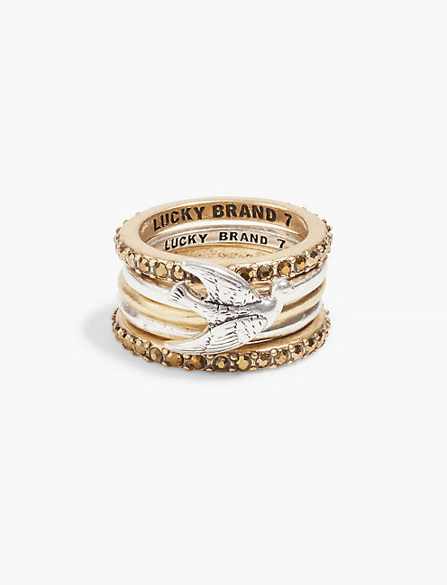 TWO TONE BIRD STACK RING,