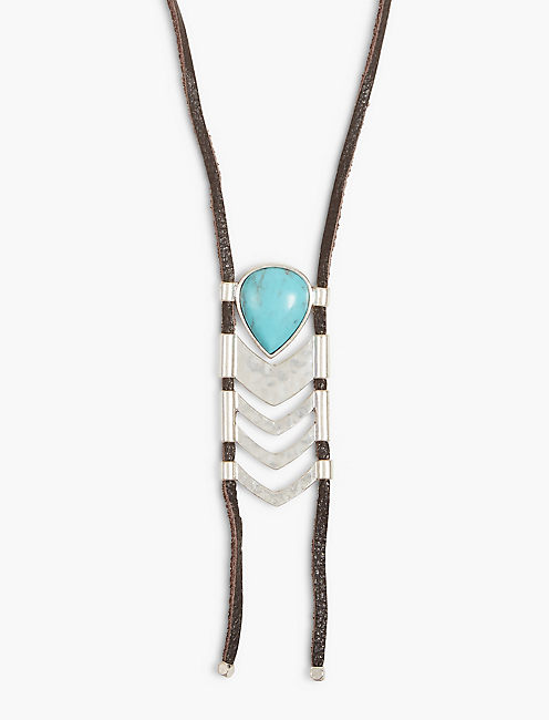 TURQUOISE LEATHER BOLO NECKLACE,