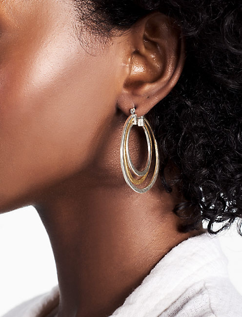TWO TONE HOOP EARRING,