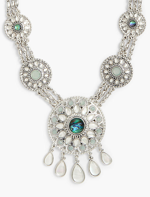 SEAFOAM STATEMENT NECKLACE,