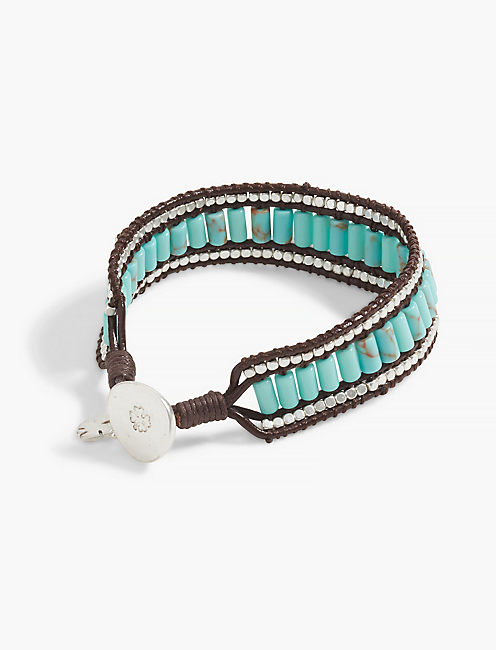 TURQUOISE BEADED LEATHER BRACELET,