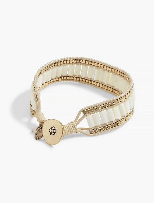 PEARL BEADED LEATHER BRACELET,