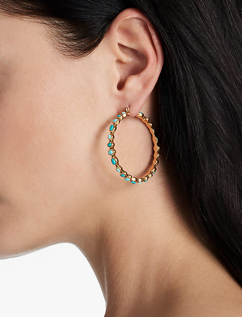 Lucky Turquoise Stone Hoop