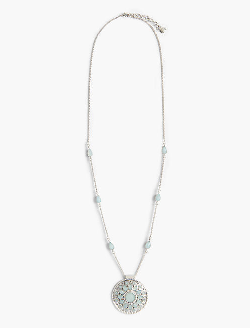 PEARL OPENWORK PENDANT NECKLACE,