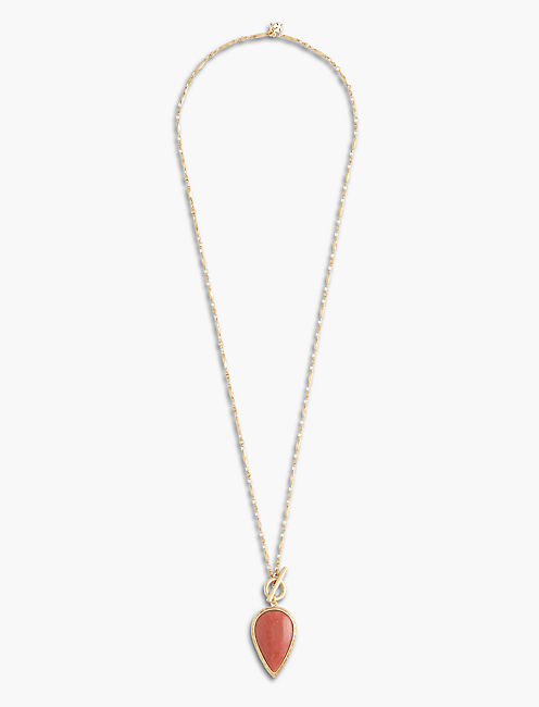 REVERSIBLE CORAL PENDANT, GOLD