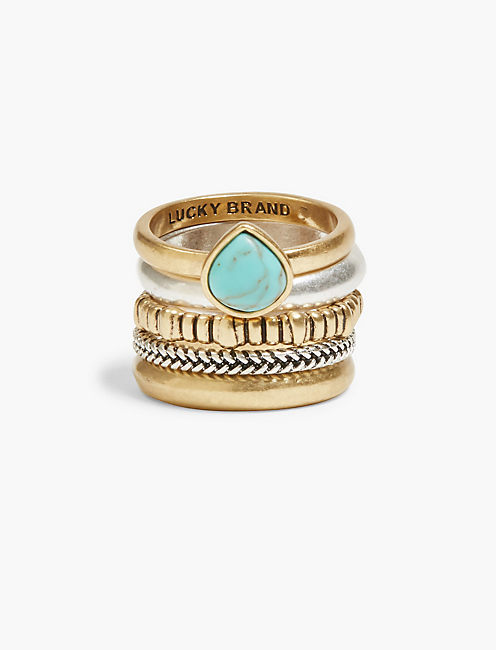 TURQUOISE RING STACK SET,